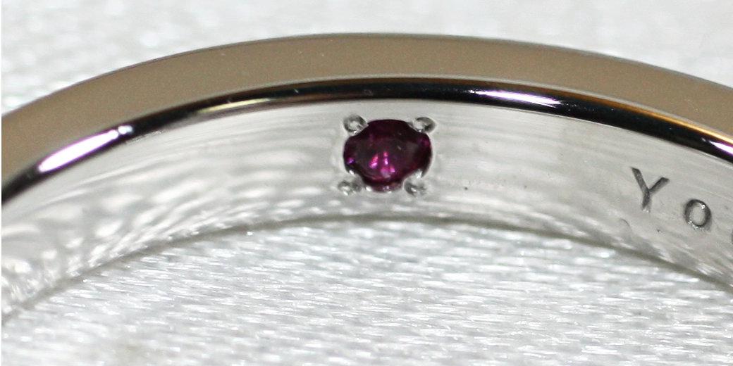 結婚指輪の内側石留め イメージ
