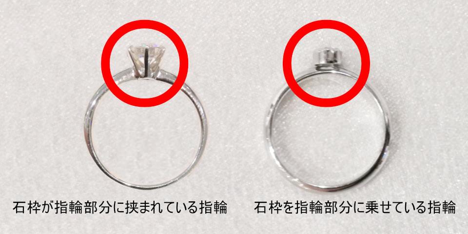 石枠が指輪部分に挟まれている指輪と、石枠を指輪部分に乗せている指輪の画像