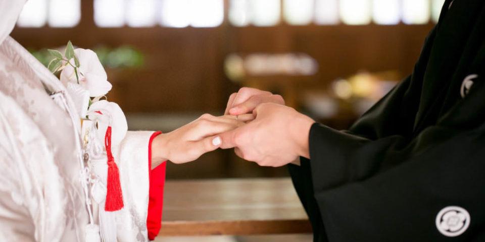 神前式での結婚指輪の交換